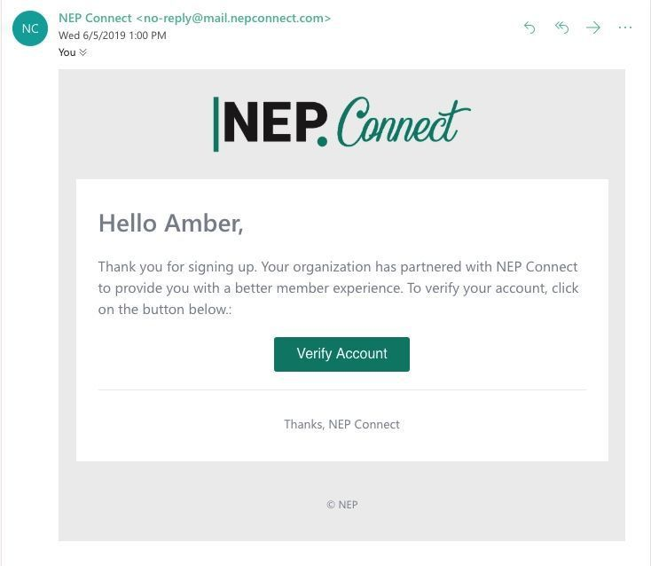 NEP Connect Registration Screenshot